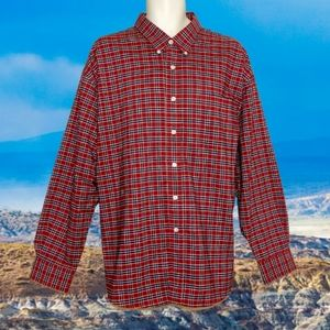 🔖 TOWNCRAFT LS Red Plaid Oxford Button Down Shirt